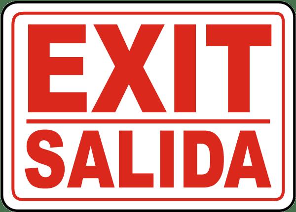 Bilingual Exit Sign