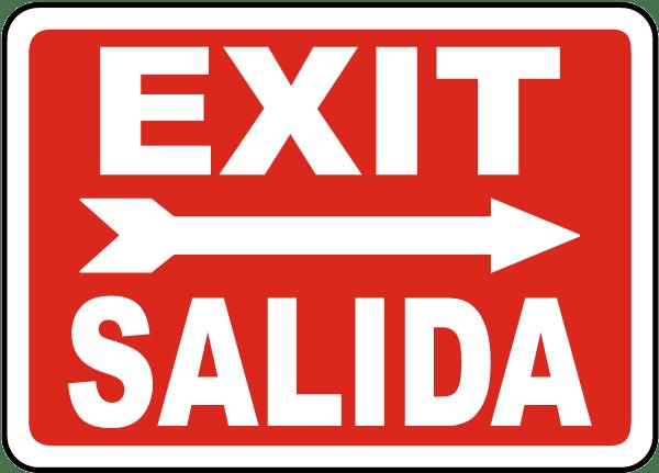 Bilingual Exit (Right Arrow) Sign