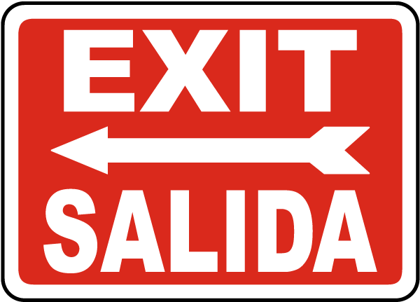 Bilingual Exit (Left Arrow) Sign