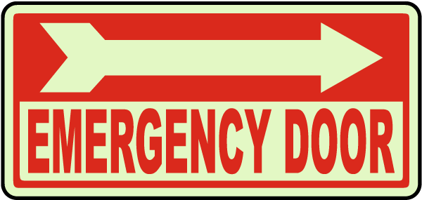 Emergency Door (Right Arrow) Sign