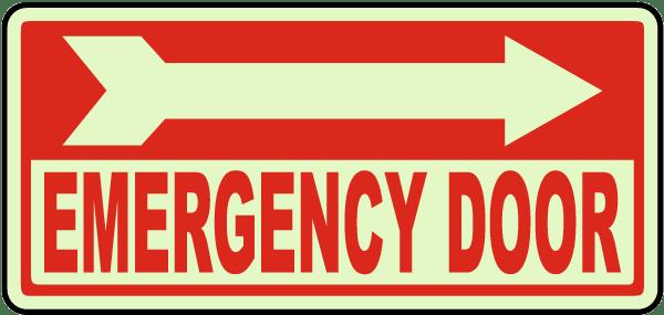 Emergency Door (Right Arrow) Sign