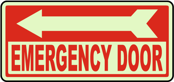 Emergency Door (Left Arrow) Sign