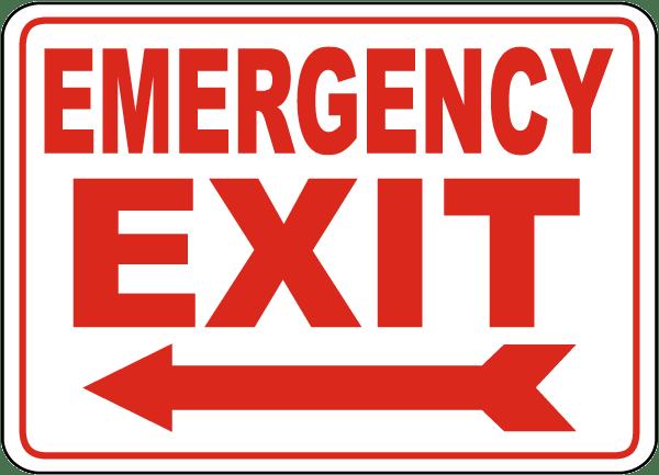 Emergency Exit (Left Arrow) Sign