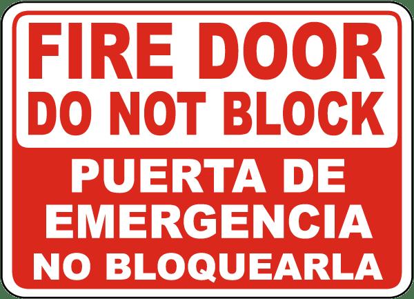 Bilingual Fire Door Do Not Block Sign
