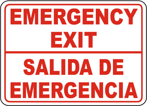 Bilingual Emergency Exit Sign