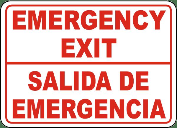 Bilingual Emergency Exit Sign