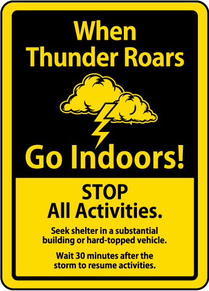 When Thunder Roars Go Indoors! Sign