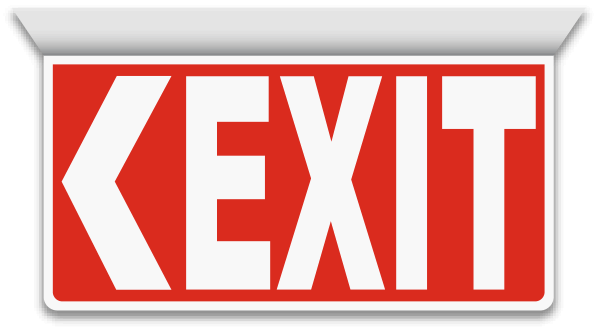 2-Way Exit (Left Arrow) Sign