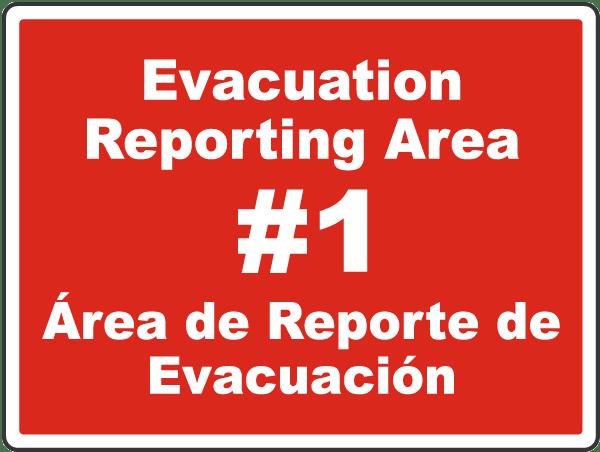 Bilingual Evacuation Reporting Area Sign