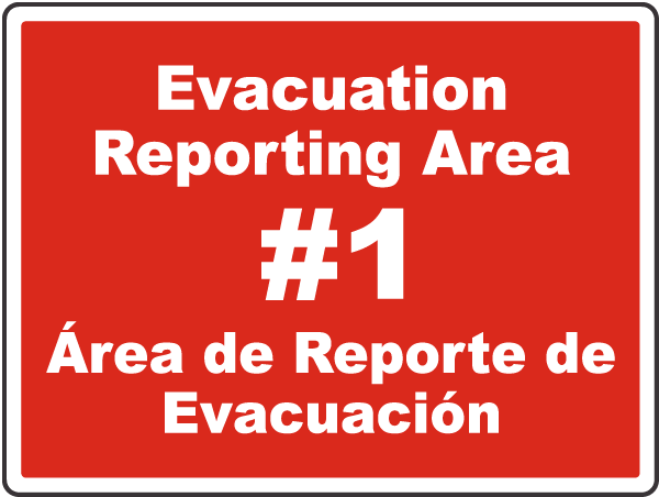 Bilingual Evacuation Reporting Area Sign