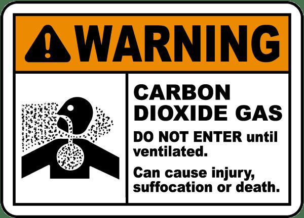 Warning Carbon Dioxide Gas Sign
