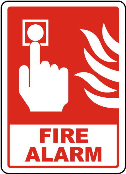 Press For Fire Alarm Sign