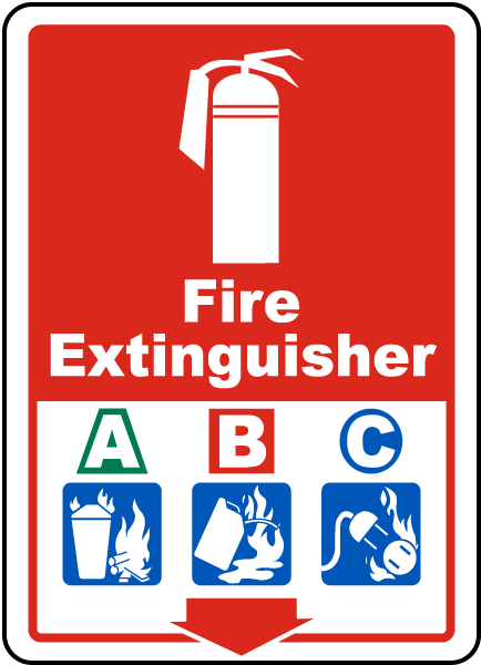 Fire Extinguisher A B C sign