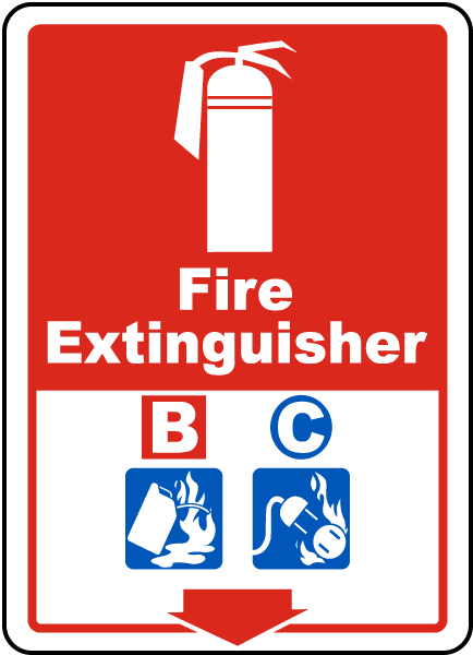 Fire Extinguisher B C Sign