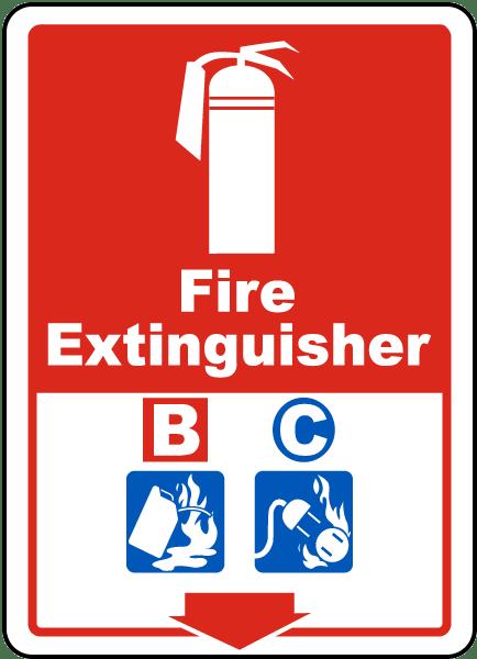 Fire Extinguisher B C Sign