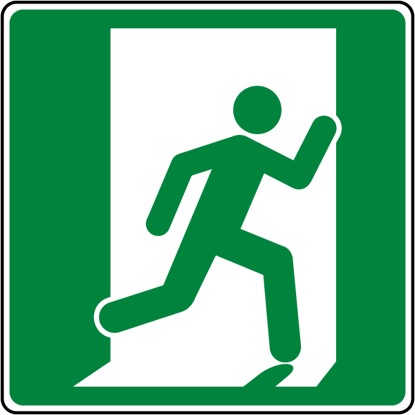 Emergency Exit Symbol (Right) Sign