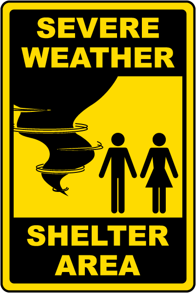 Severe Weather Shelter Area Sign