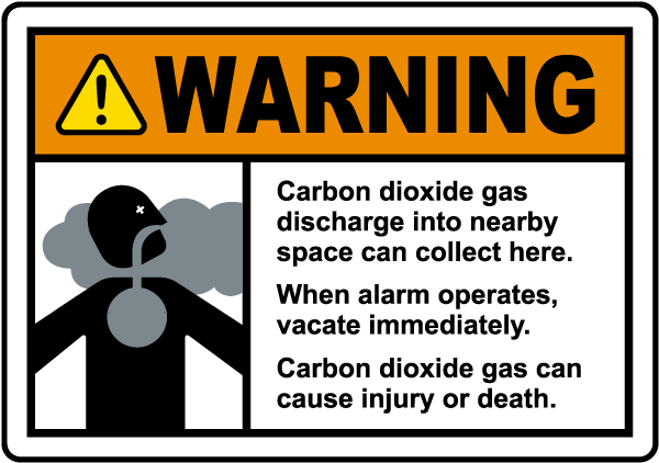 Warning Carbon Dioxide Gas Discharge Sign