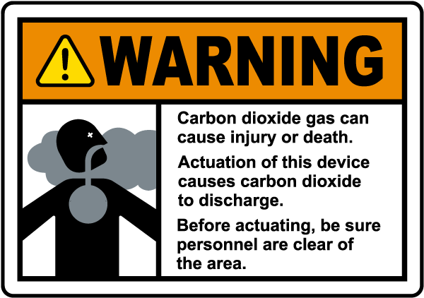 Warning Carbon Dioxide Manual Actuation Station Sign