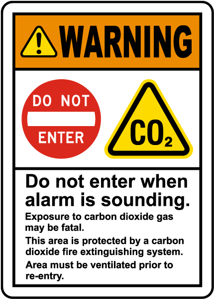 Warning CO2 Do Not Enter When Alarm Sounds Sign