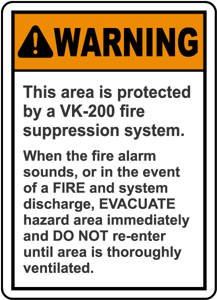 Warning Protected By VK 20 System Sign