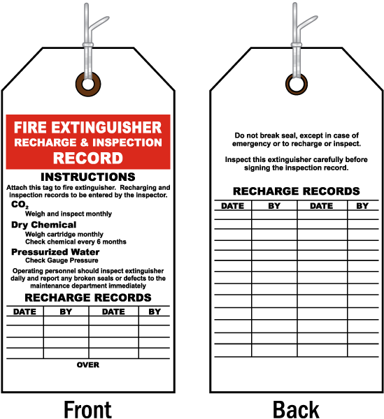Fire Extinguisher Inspection Tag