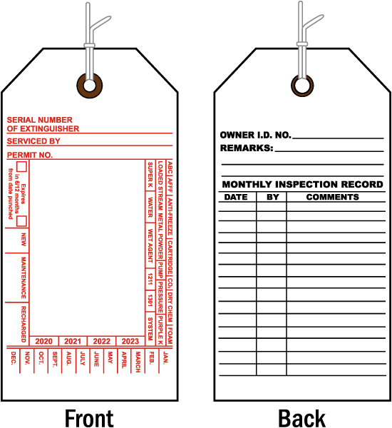 how to read fire extinguisher tags