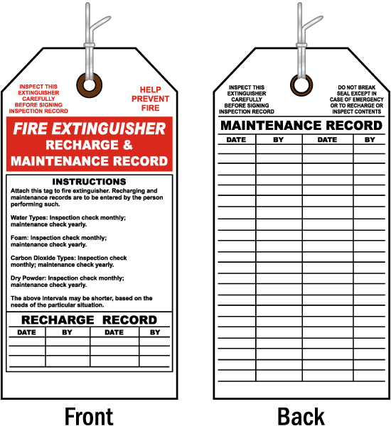 Maintenance & Recharge Record Tag