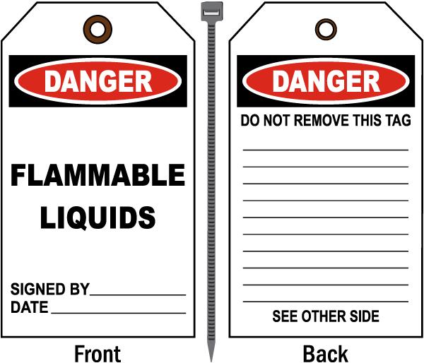 Danger Flammable Liquids Tag
