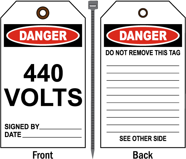 Danger 440 Volts Tag