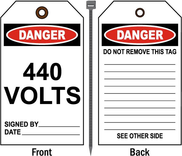 Danger 440 Volts Tag