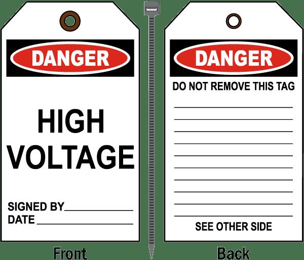 Danger High Voltage Tag