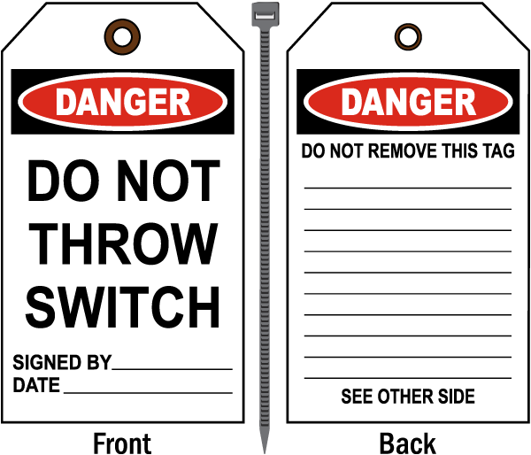 Danger Do Not Throw Switch Tag