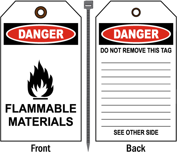 Danger Flammable Materials Tag