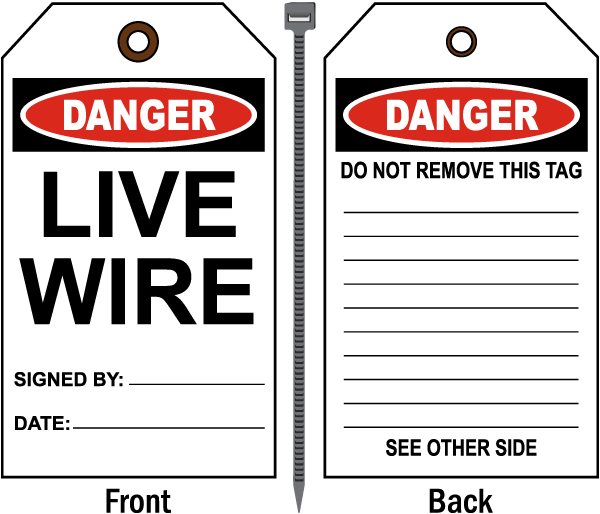 Danger Live Wire Tag