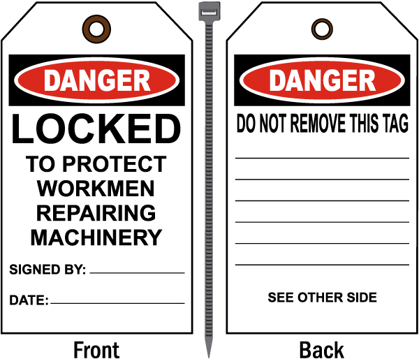 Danger Locked To Protect Workmen Repairing Machinery Tag