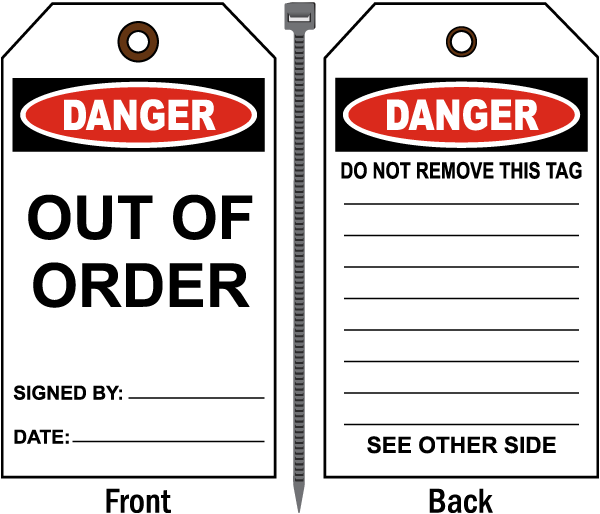 Danger Out Of Order Tag