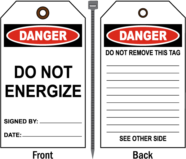 Danger Do Not Energize Tag