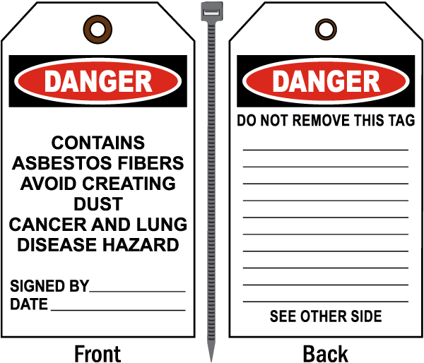 Danger Contains Asbestos Fibers Tag