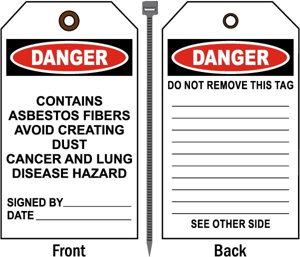 Danger Contains Asbestos Fibers Tag