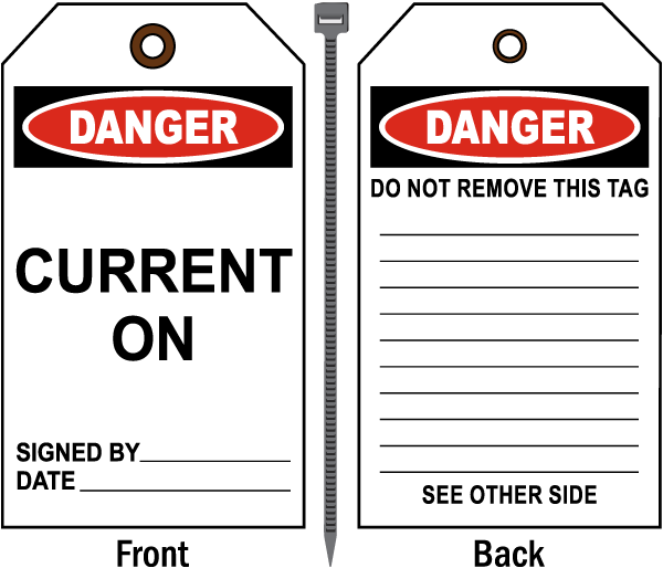 Danger Current on Tag