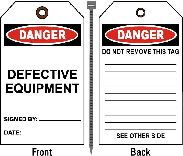 Danger Defective Equipment Tag