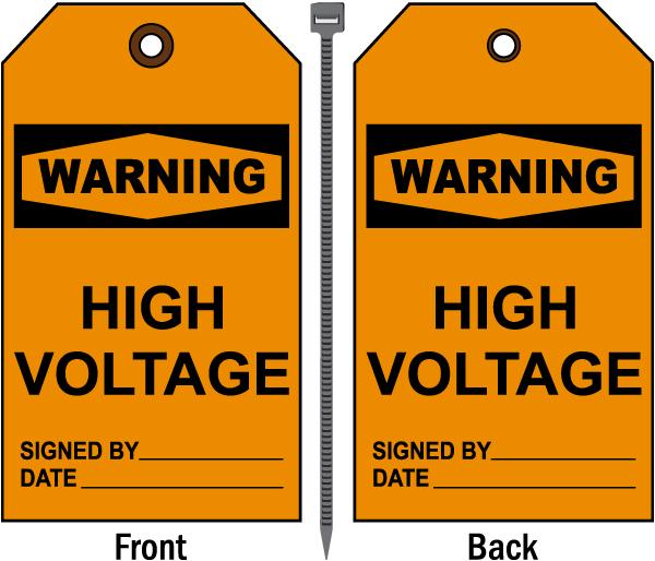Warning High Voltage Tag