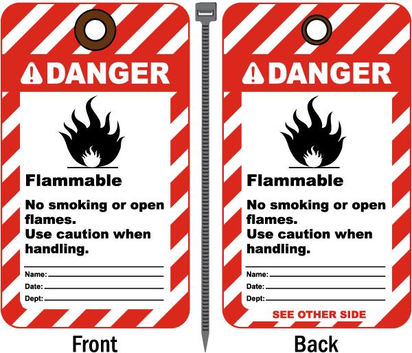 Danger Flammable No Smoking Tag