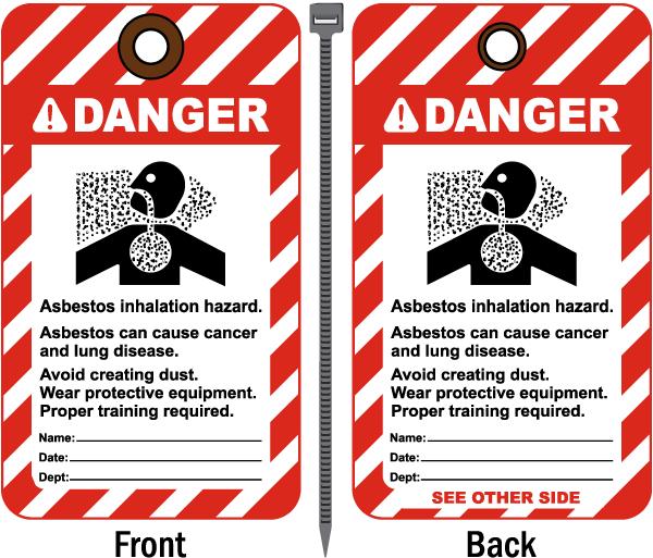 Danger Asbestos Inhalation Hazard Tag