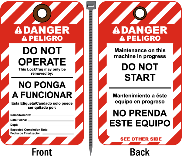 Bilingual Danger Do Not Operate Tag