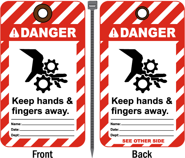 Danger Keep Hands & Fingers Away Tag