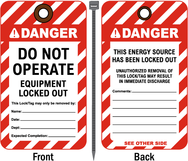 Do Not Operate Equipment Locked Out Tag