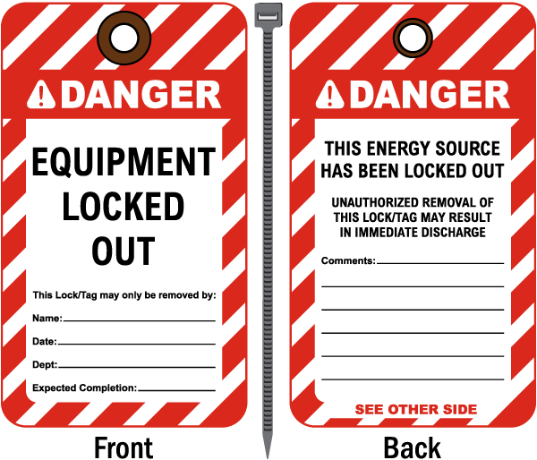 Danger Equipment Locked Out Tag