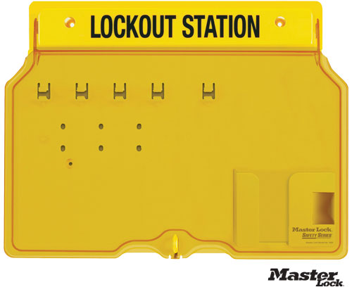 Wall-Mount Empty Lockout Station For 4 Padlocks
